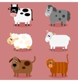 Funny farm animals and pets collection vector image