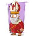Cartoon old Catholic priest with vector image