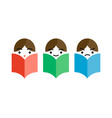 three man reading a books vector image