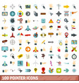 100 pointer icons set flat style vector image vector image