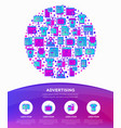 advertising concept in circle with thin line icons vector image vector image