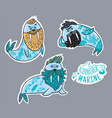 animals patch collection hipster walruses vector image vector image