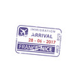 arrival nice airport visa france border control vector image vector image