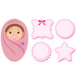 baby girl and different pink labels vector image vector image