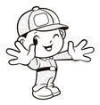 black and white soldier mascot welcome isolated vector image vector image