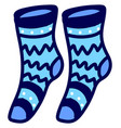 blue socks on white background vector image