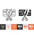 card scissors cut simple black line icon vector image vector image