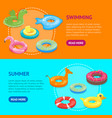 cartoon color swimming ring toy banner horizontal vector image vector image
