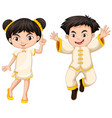 chinese boy and girl in traditional costume vector image vector image
