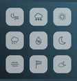 climate icons line style set with breeze snowfall vector image vector image