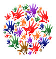 colorful caring hands circle background vector image