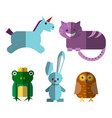cute flat magical animals vector image vector image