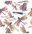 fashion seamless pattern with pastel dragonfly vector image