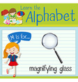 Flashcard letter M is for magnifying glass vector image vector image