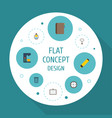 flat icons whiteboard board stand watch vector image vector image