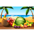 Fresh fruits on the table by the beach vector image