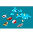 Global logistics network Web site concept Flat 3d vector image vector image