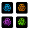 glowing neon recycle symbol icon isolated on vector image vector image