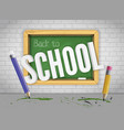 green chalkboard with pencils welcomes back to vector image vector image