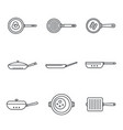 griddle pan icon set outline style vector image vector image