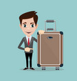 happy man with luggage on background a vector image vector image