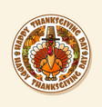 happy thanksgiving day card with turkey vector image vector image