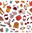 hipster doodle icons background or pattern vector image vector image