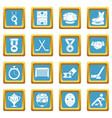 hockey icons set sapphirine square vector image vector image