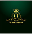 letter q ornamental logo concept with golden crown vector image vector image
