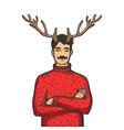 Man with deer horns engraving
