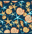 marine life seamless pattern seashells and vector image