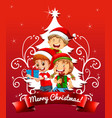 merry christmas font with children wearing vector image