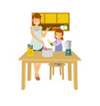 mother and daughter learning to cook vector image vector image