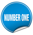 number one round blue sticker isolated on white vector image vector image