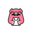 piggy shop pig shopping bag store moustache logo vector image