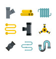 pipe icon set flat style vector image vector image