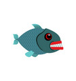 piranha isolated see predatory fish on white vector image vector image