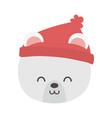 polar bear head with hat merry christmas vector image vector image