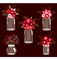 Red Flowers In Jars vector image