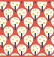 retro fruit trees red blue yellow pattern vector image