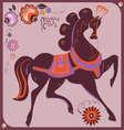 Riussian gorodez style horse vector image vector image