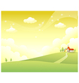 Rolling landscape church vector image