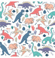 seamless pattern dinosaurs background cute vector image