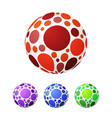 set of ball with colored circles bright vector image vector image