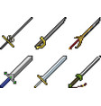 set of weapon icons in pixel style vector image vector image