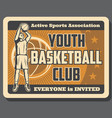 sport basketball club vintage poster with player