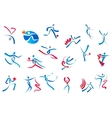 Sportive and dancing people icons vector image vector image