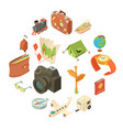 travel journey icons set isometric style vector image vector image
