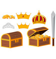 treasure chests and golden crowns vector image