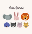 White background with set color face cute animals